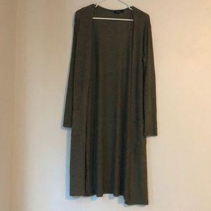long olive green cardigan